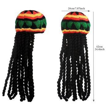 Unisex Knitted Beanies Hat Halloween Christmas Party Fancy Dress Wig Braid Hat  Tassel Hat Jamaican Bob Marley Rasta Hair Hat