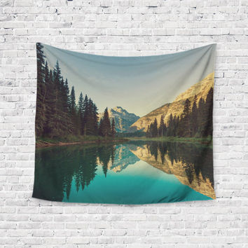 Camping Dreams Lake Forrest Pattern Unique Trendy Boho Wall Art Home Decor Unique Dorm Room Wall Tapestry Artwork