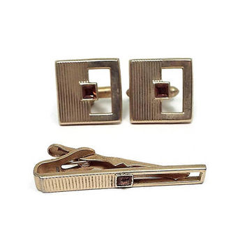 Brown Rhinestone Vintage Mens Jewelry Set Swank Tie Clip Cufflinks Gold Tone Mid Century Hipster Formal