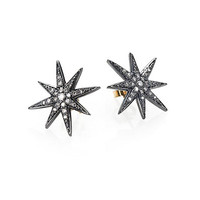 Diamond and Sterling Silver Star Earrings