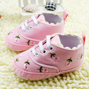 1pair Baby Girl Flower Shoes Baby Princess Shoes First Walkers Footwear Toddler Soft Sole Shoes NW