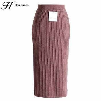 H Han Queen Stretch Knitted High Waist Skirt Women Fashion Slim Pencil Skirts Female Rretro Sexy Long Skirt Autumn Winter Jupe
