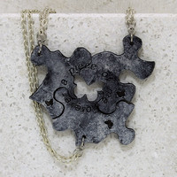 Friendship  Puzzle Piece Necklaces or Key chains Set of 3 Leather Pendants Silver Forever a piece of me