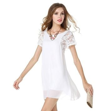 Women Lining Short Sleeve Lace Chiffon Ready Dress Girls Dinner Mini Dresses
