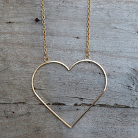 Heart of Gold Outline Necklace