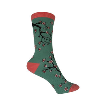 Bamboo Cherry Blossoms Crew Socks in Light Jade