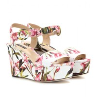 FLORAL-PRINT CANVAS WEDGE SANDALS