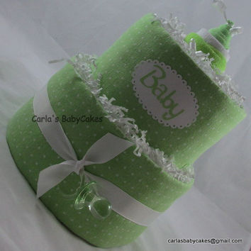 Green Diaper Cake,Neutral 2 Layer Baby Shower Cake, New Baby Gift, Baby Shower Centerpiece, New Mom Gift, Baby Shower Gift, Mom to be gift