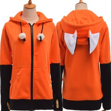 Animal Fox Ear Cosplay Costumes Hoodie Coat Warm Orange Sweatshirt Unisex Hoodies