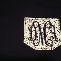 Music Lover's Monogrammed Pocket T Short Sleeve Shirt For Adults great for Musicians  Band Members Parents