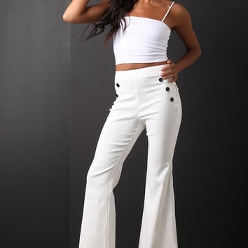 Button Accent High Waisted Flared Pants | UrbanOG