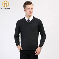 Men's Solid Color V-Neck Knitting Wool Pullover Long Sleeve Men's Formal Casual Wool Sweater Warm Comfortable Clothing