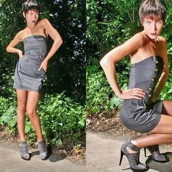 ON SALE 40% off // Last One // Military // Denim Corset Dress w/ side pockets