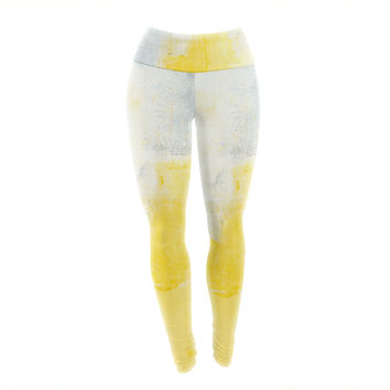 "CarolLynn Tice ""Stability"" Yellow White Yoga Leggings"