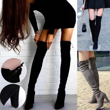 Women Boots Stretch Thigh High Over the Knee Boots Fashion Shoes