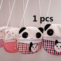 Cute Lovely Panda&Cat Cotton Shoulder Bag Purse for Child Girl Lady