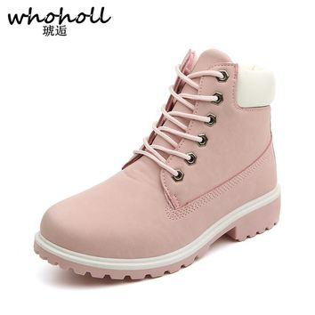 Whoholl Autumn Winter Women Ankle Boots New Fashion Woman Snow Boots for Girls Ladies Work Shoes Plus Size 36-41 Lace-up Boots