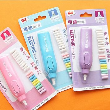 DCCKL72 1 set  candy colour electric eraser rubber eraser creative stationery school supplies papelaria gift for kids