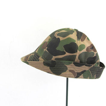 vintage military hunting hat. camoflage hat. M