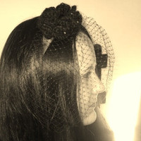 Black Birdcage Veiled Headband