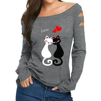 Off the shoulder Cat Love Print Sweater