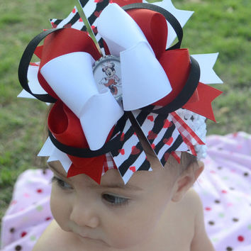 Minnie Mouse Bow- Large Boutique Hair Bow, Disney Over the Top, Layered Red, White and Black, Bottle cap, Matching Crochet Headband