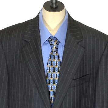 Brooks Brothers Ing Loro Piana Italy Pinstriped Charcoal Blazer Suit Jacket 40 L - Preowned