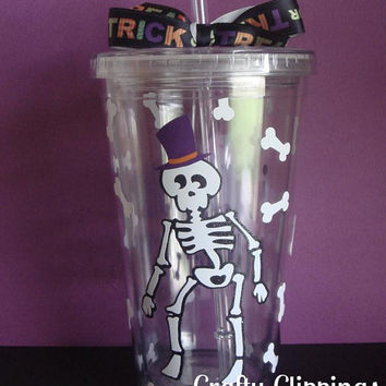 Vinyl Tumbler, Halloween Cup, Skeleton cup, Bones, Humerus, Bone Jangles, Halloween gift, Halloween Decor, Funny Halloween, Water bottle