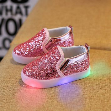 MUQGEW LED Shoes Baby Fashion Kids Sneakers LED Luminous Child Sequins Light Shoes children shoes Sapatos Infantil QZ06