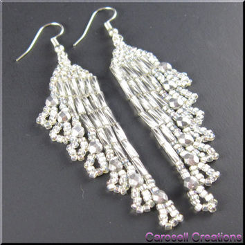 Handmade Earring Native American Style Beadwork Seed Bead Ripples in Silver