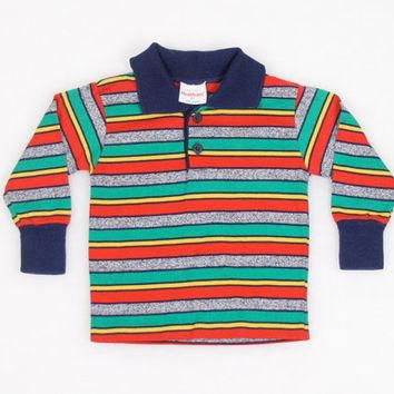 Vintage Toddler Boy Shirt 1980s 80s Thin T Shirt Polo Shirt Tshirt Rainbow Striped Hea