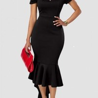 Black Off Shoulder High-Low Mermaid Irregular Bodycon For Wedding Elegant Midi Dress