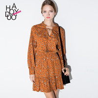 Haoduoyi Retro print V-neck dress Slim pleated ruffles long sleeve women shirt-dresses