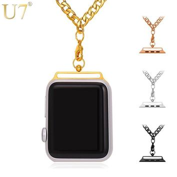 U7 Chain Necklace For AppleWatch Series 1/2 38mm/42mm Belt Accessories Men/Women High Quality Gold Color Stainless Steel P1062