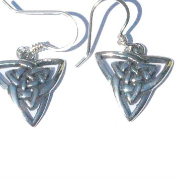 Sterling Silver Celtic Celtic Knotted Triquetra Trinity Earrings