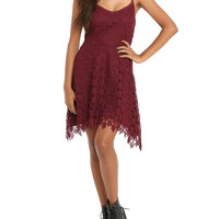 Wine Crochet Dress