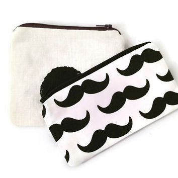 Matching Pouches -  Black and White Pouch - Geometric Pouch - Mustache Pouch - Zipper Wallet - Small Cosmetic Bag - Gift for Her - Gift Set