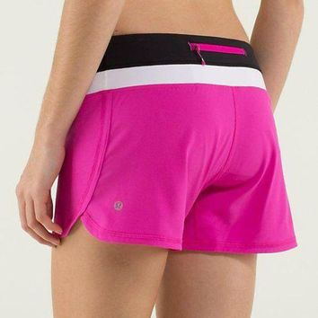 DCCK8X2 Lululemon Women Casual Zipper Triangle Running Sports Summer Shorts