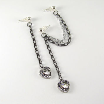 Cartilage Earrings Double Piercing Heart and Chain