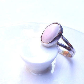 Pink Coral Split Band Ring - Oval Cabochon Sterling Silver Band