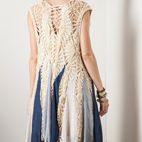 Sleeveless Crochet Knit Vest - Navy