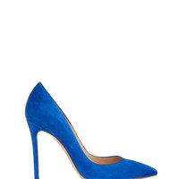 Gianvito Rossi Cobalt Suede Pointed Pump - Blue Stiletto