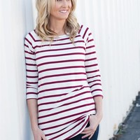 Striped 3/4 Sleeve Tunic - Cranberry