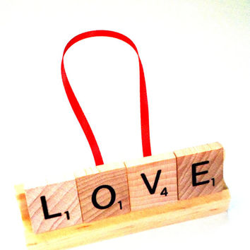 Love Ornament - Scrabble Ornament - Scrabble Tile Gift - Christian Ornament - Scrabble Letter Art - Valentines Day Gift,Wedding Gift Tie On