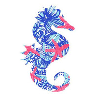 Seahorse Lilly Pulitzer  Decal, Lilly Inspired Decal Monogram, Lilly Pulitzer Decal, Lilly car decal, Lilly Pulitzer Yeti decal Custom Decal