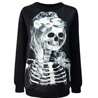 Erlking Women's Punk Rock Printing Skull Skeleton Beauty Sweatshirts