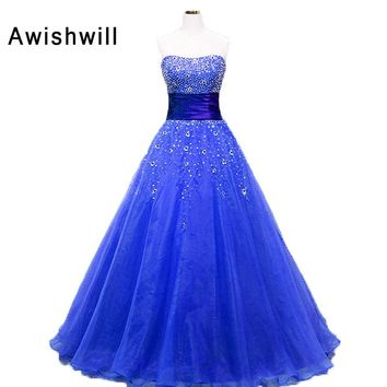 Blue Dress For Party Homecoming Strapless Beadings Organza Ball Gown Prom Dress Floor Length Corsert Back Vestidos de Festa