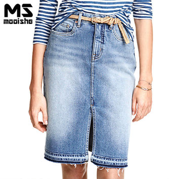 Mooishe Summer Casual Women Ripped Skirt High Waist Split Tassel Skinny Light Blue Knee Length Ladies Women Pencil Denim Skirt