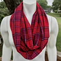 Women's flannel plaid infinity scarf from Nicole Ray Shop
