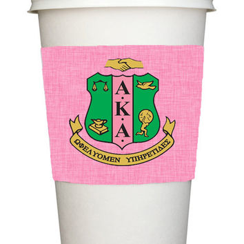 Monogrammed Wine Glass Koozie, Personalized Coffee Cup Sleeve, Solo Cup - Sorority, AKA